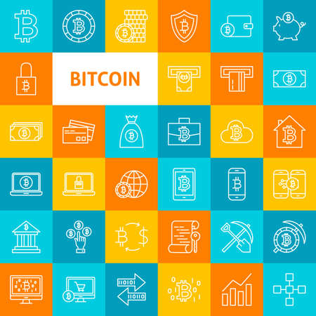 Vector Line Bitcoin Icons. Thin Outline Cryptocurrency Symbols over Colorful Squares.