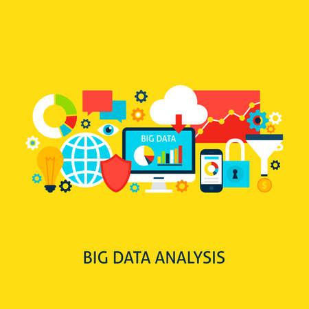 big screen: Big Data Analysis Vector Concept