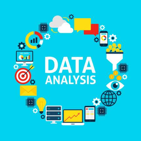Data Analysis Flat Circle. Set of Business Objects.