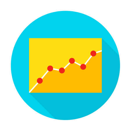Infographic Icon. Vector Illustration Flat Style Circle Item with Long Shadow. Data Analysis.