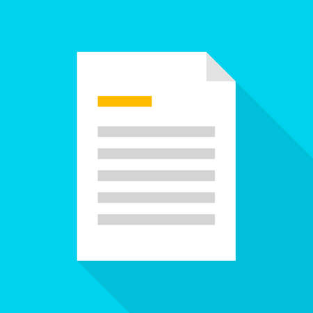 documentation: File Document Icon. Vector Illustration Flat Style Item with Long Shadow.