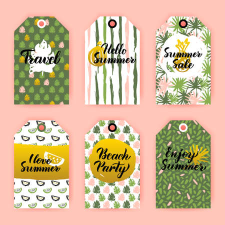 Hello Summer Gift Labels. Vector Illustration of 80s Style Shop Tag Design with Handwritten Lettering.