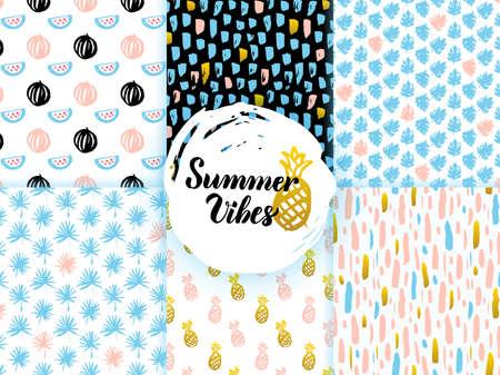 Summer Funky Seamless Patterns. Vector Illustration of Nature Tile Background. Illustration