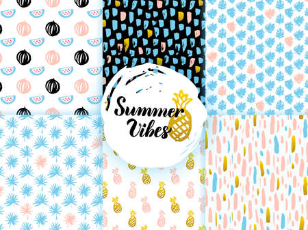 Summer Funky Seamless Patterns. Vector Illustration of Nature Tile Background. Vettoriali