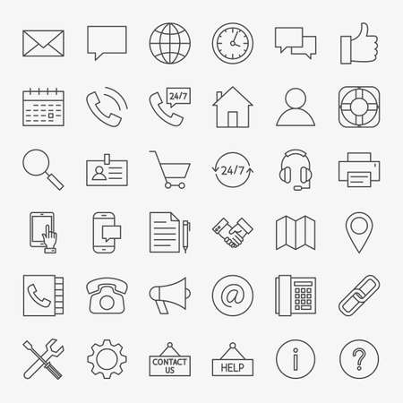 Contact Us Line Icons. Vector Set of Outline Business and Computer Symbols.