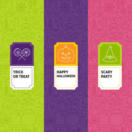 Line Halloween Patterns Set. Vector Illustration of Logo Design. Template for Packaging with Labels.