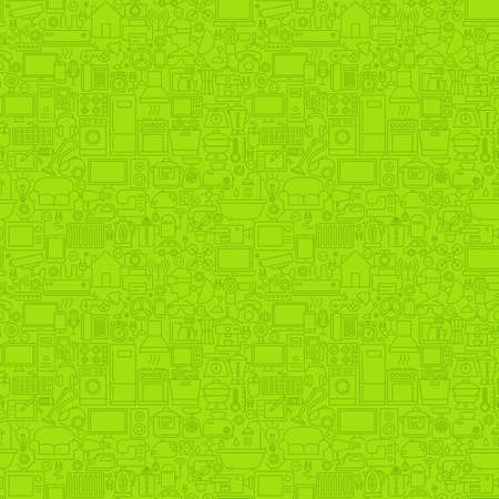Green Line Household Seamless Pattern Ilustração
