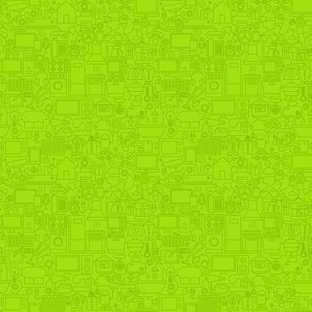 Groene lijn huishoudelijke naadloze patroon