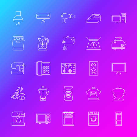 appliance: Household Appliance Line Icons Illustration