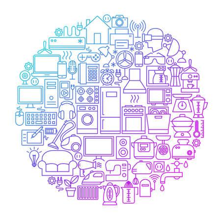 Huishoudelijke Line Circle Design Stock Illustratie