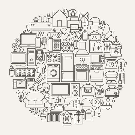 Household Line Icons Circle Ilustracja