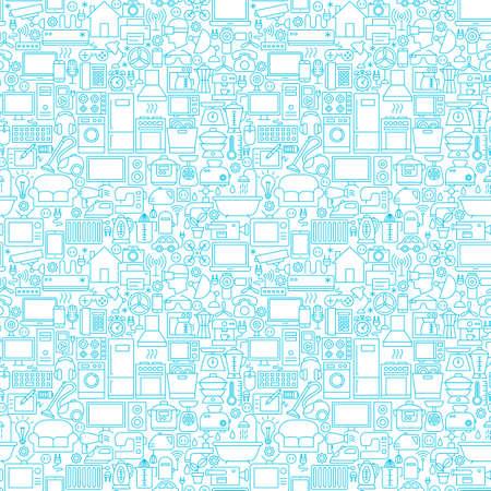 Line Household White Seamless Pattern
