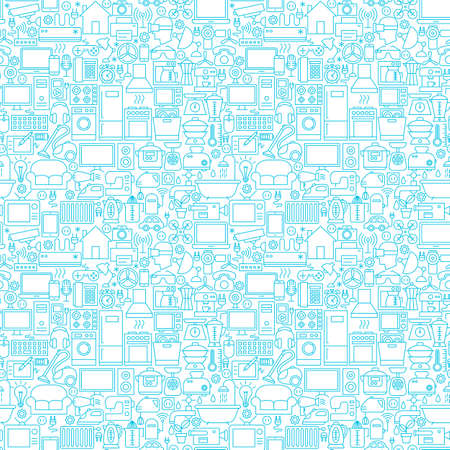 Line Household White Seamless Pattern