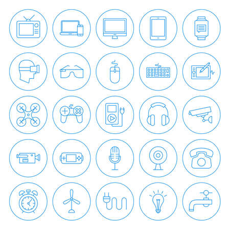 Line Circle Household Icons.