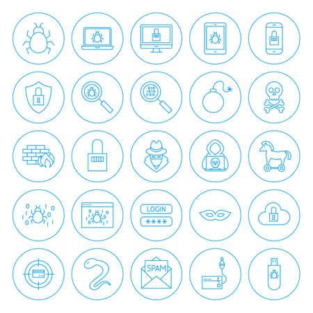 Line Circle Hacker Icons Illustration