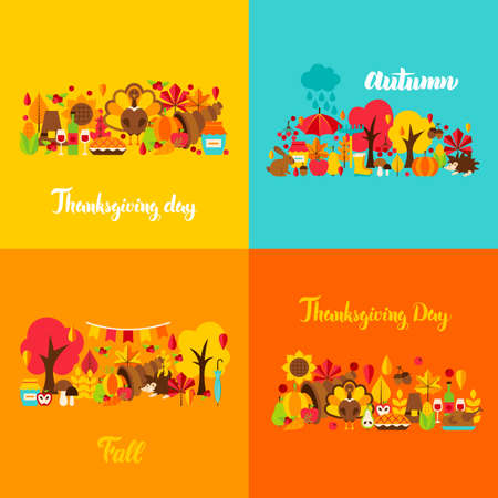 Autumn Thanksgiving Concept Set. Vector Illustration. Fall Seasonal Posters.