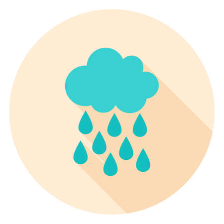 Rain Circle Icon. Vector Illustration. Cloud and Drop Weather.