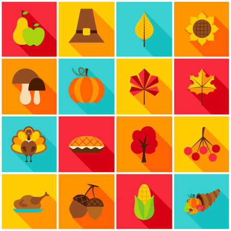 Erntedankfest-bunte Ikonen. Vektor-Illustration. Set saisonale Feiertagsgegenstände. Standard-Bild - 86212800