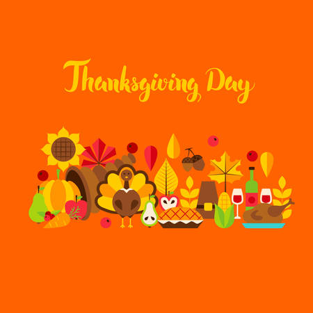 Thanksgiving Day Greeting Card. Vector Illustration. Autumn Holiday Concept.