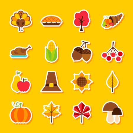 Thanksgiving Day Stickers. Vector Illustration Flat Style. Set of Seasonal Holiday Symbols.