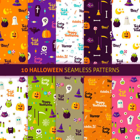 Halloween Holiday Seamless Patterns