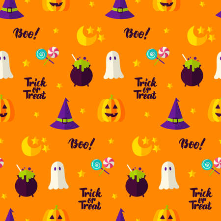 Trick or Treat Seamless Pattern Stock Photo