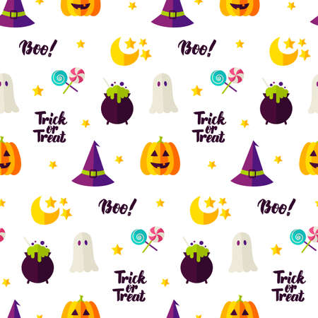 Halloween Seamless Pattern. Vector Illustration of Holiday Background. Trick or Treat.