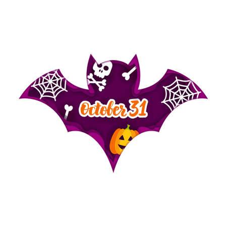 Halloween Bat Paper Cut Concept. Vector Illustration. Trick or Treat. Stock Photo