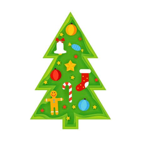 Christmas Tree Papercut Illustration