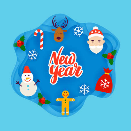 New Year Papercut Concept Illustration