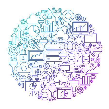 Data Filter Line Circle Design Illustration