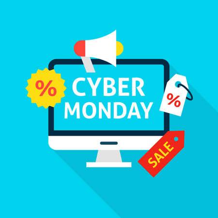 Cyber Monday Flat Concept