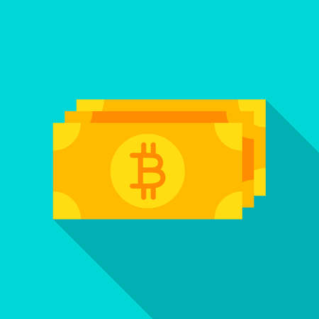 Bitcoin Banknote Flat Icon Vector illustration. Vectores