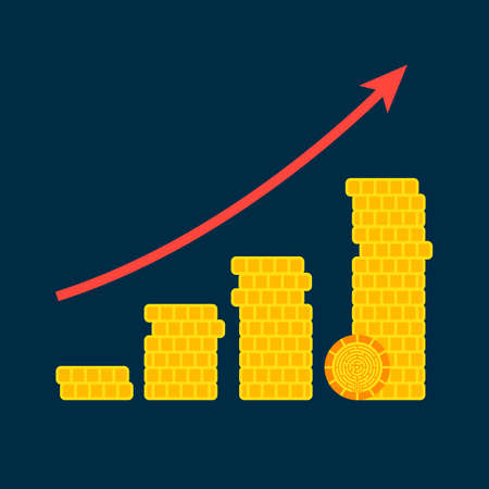 Cryptocurrency Growth Graph Concept. Vector Illustration with of Financial Diagram.