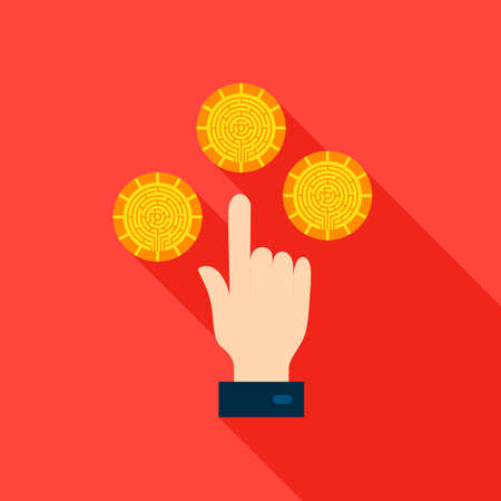 Hand Cryptocurrency Flat Icon. Vector Illustration with Long Shadow. Financial Money.