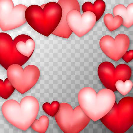多くの心。透明な背景上の愛のオブジェクトのベクトルイラストレーション。 写真素材 - 93533040