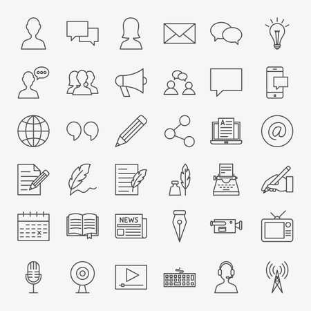 Blog Line Icons Set. Vector Thin Outline Social Media Symbols. Stock Illustratie