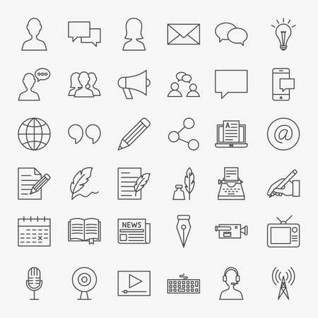 Blog Line Icons Set. Vector Thin Outline Social Media Symbols. Vectores