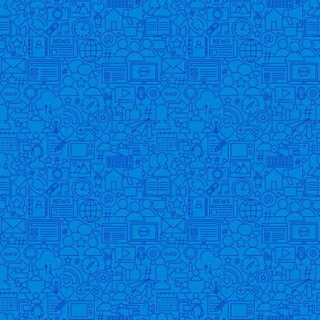 Social Media Line Seamless Pattern. Vector Illustration of Outline Tileable Background.