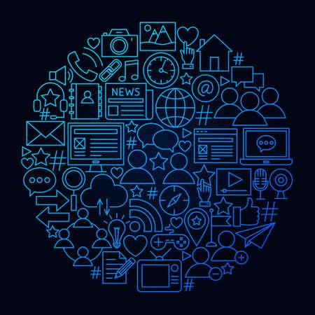 Social Network Line Icon Circle Concept