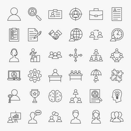 Human Resources Line Icons Set
