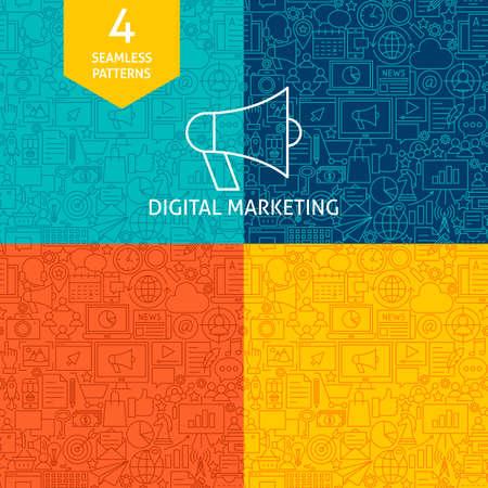 Line Digital Marketing Patterns Vector illustration.  イラスト・ベクター素材