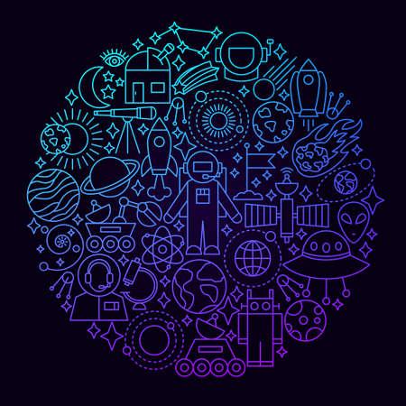 Space Line Icon Circle Concept