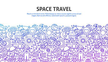 Space Travel Concept, doodle illustration.