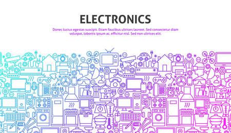 Electronics Web Concept, gradient line illustration.