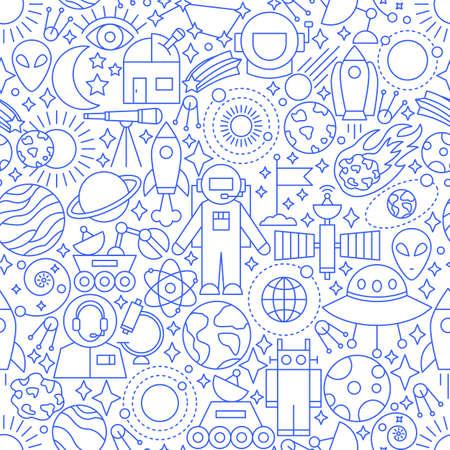 Space White Line doodle Pattern. Illusztráció