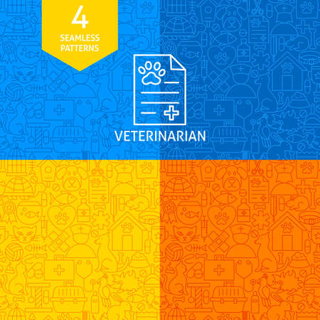 Line Veterinary Patterns isolated on colorful presentation. Illustration