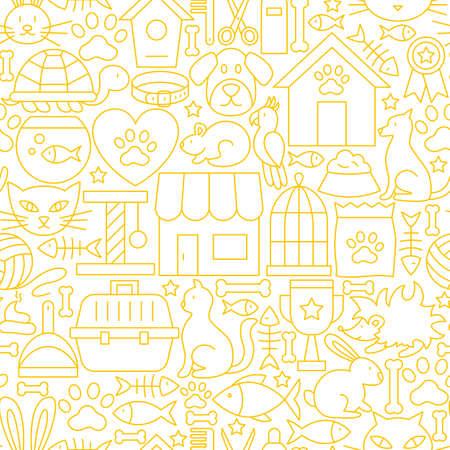 Pet shop white line seamless pattern. 矢量图像