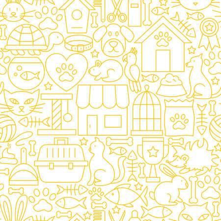 Pet shop white line seamless pattern. Vectores