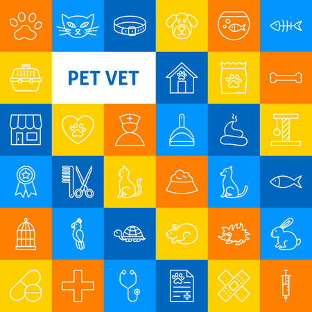 Vector Pet Vet Line Icons.